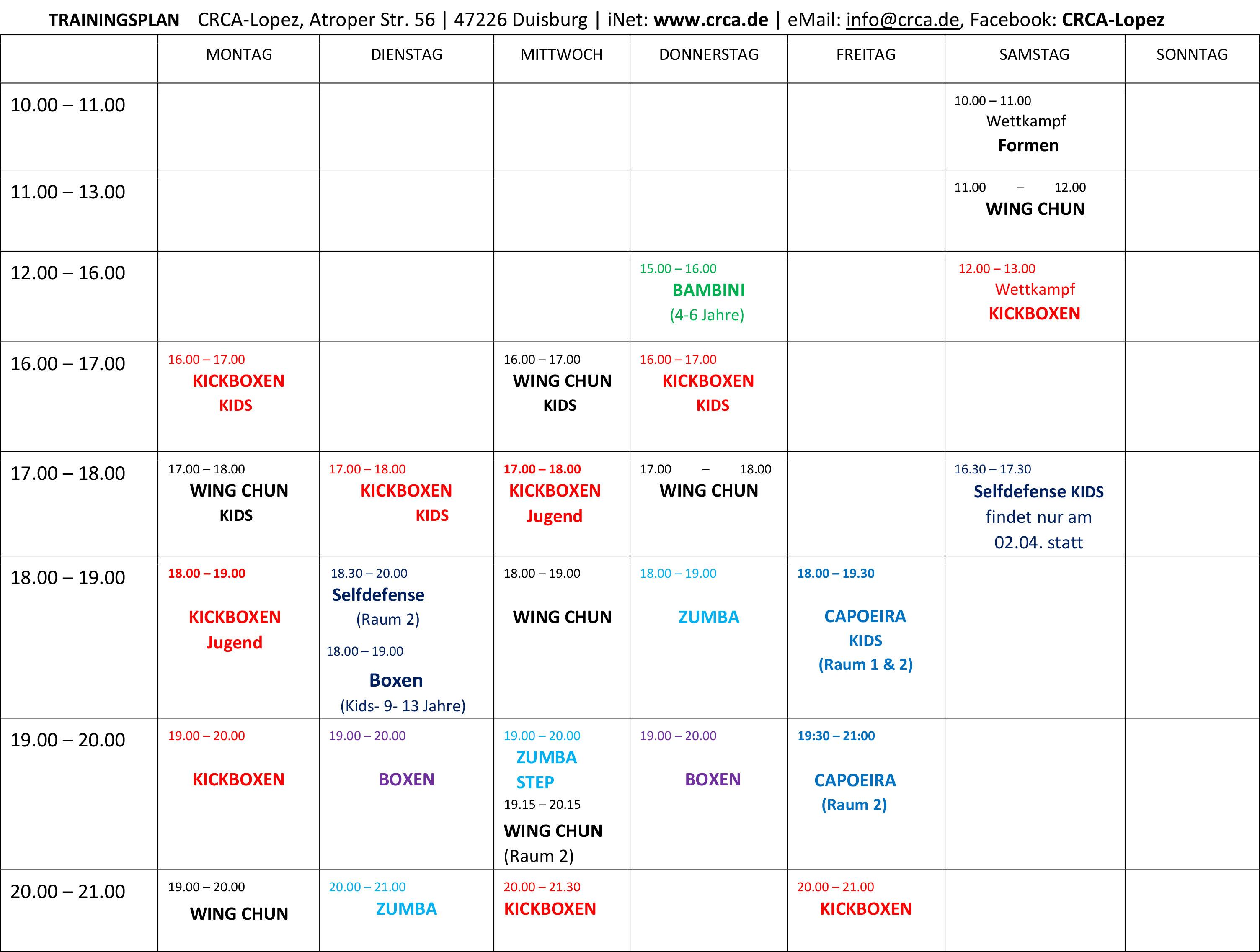 2016 Trainingszeiten Ferienplan 1